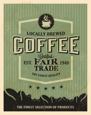 bean: Retro Vintage Coffee Background with Typography