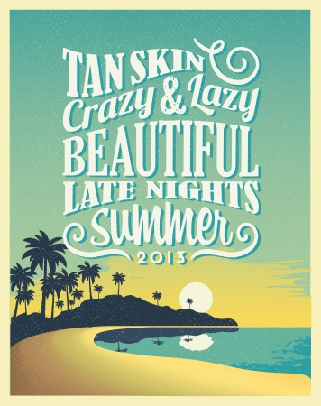 hawaii: Retro Vintage Summer Poster Design with Typography