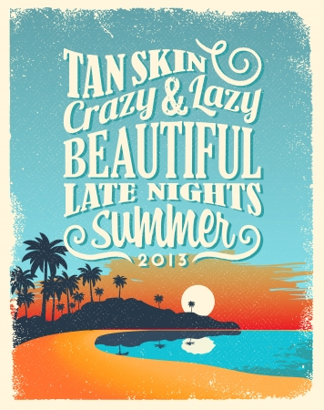 summer beauty: Retro Vintage Summer Poster Design with Typography