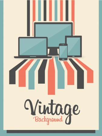 sunbeams background: retro vintage background with electric devices Illustration