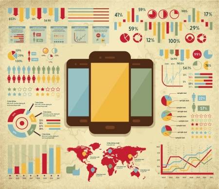 retro vector set of infographic elements for your documents and reports with three touchscreen mobile phone devices Illustration