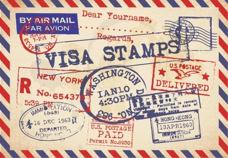 Vaus Visa Stamps Background Stock Vector - 23763486