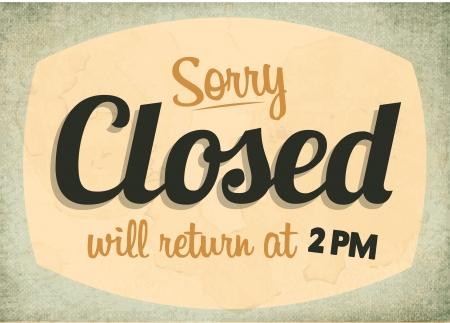 Retro Vintage Closed Sign mit Grunge-Effekt Standard-Bild - 23763488