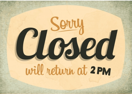 sunbeams background: Retro Vintage Closed Sign with Grunge Effect Illustration