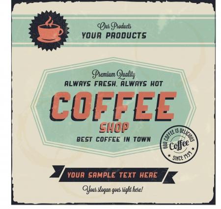 fond caf�: R�tro fond de caf� de cru avec Typographie