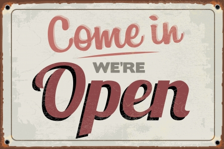 Retro Vintage Open Sign with Grunge Effect