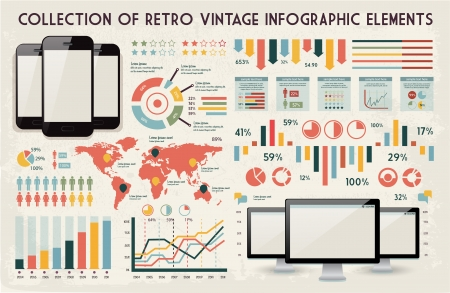 web pages: retro vector set of infographic elements for your documents and reports with glossy touchscreen mobile phone and monitor screens