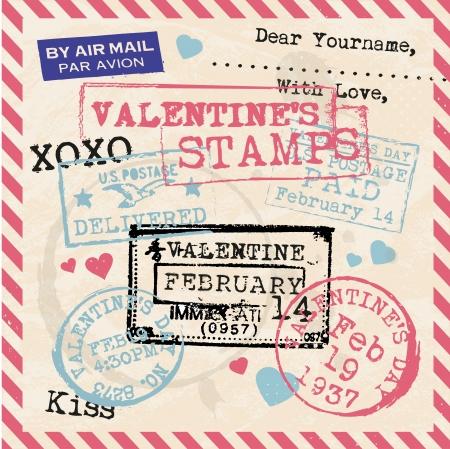 Various Valentines Stamps Background Illustration