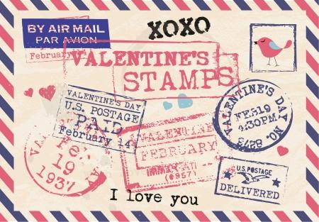 beau: Various Valentines Stamps Background Illustration