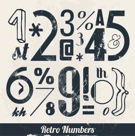 Vaus Vintage Number and Typography Collection  For High Quality Graphic Projects Stock Vector - 23763834