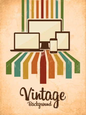retro vintage background with electric devices Illustration