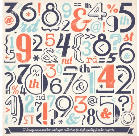 Various Vintage Number and Typography Collection  For High Quality Graphic Projects Stock Vector - 23763850
