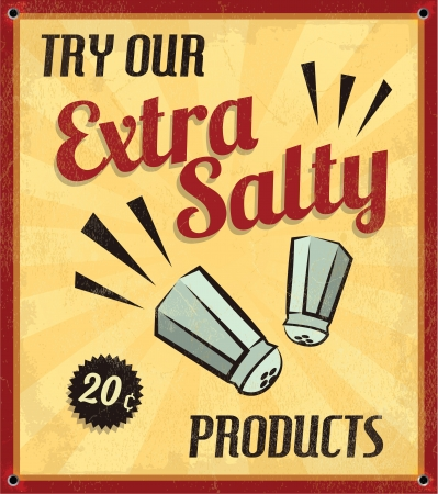 Retro Vintage Extra Salty Tin Sign with Grunge Effect