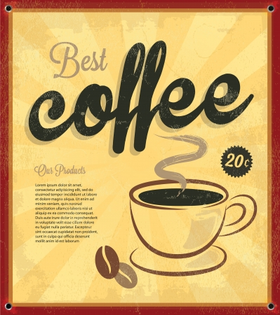 Retro Vintage Coffee Tin Sign with Grunge Effect