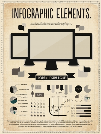 retro vintage vector set of infographic elements for your documents and reports with three touchscreen devices