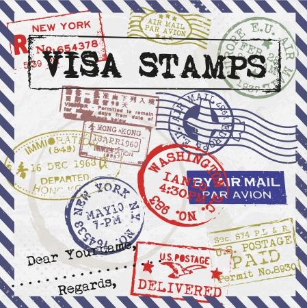 returned: Various Visa Stamps Background Illustration