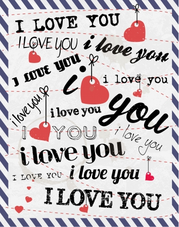 love you: Valentines Day Background with Various Typhography Style Illustration