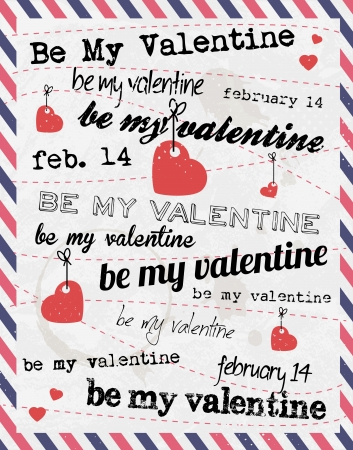 beau: Valentines Day Background with Various Typography Style Illustration