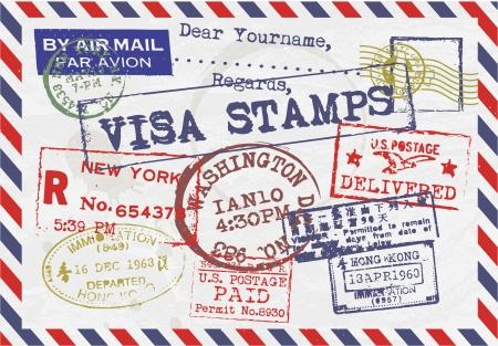 Various Visa Stamps Background Illustration