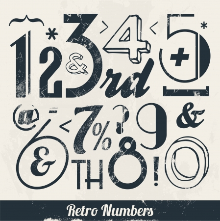 Various Vintage Number and Typography Collection  For High Quality Graphic Projects Stock Vector - 23763945