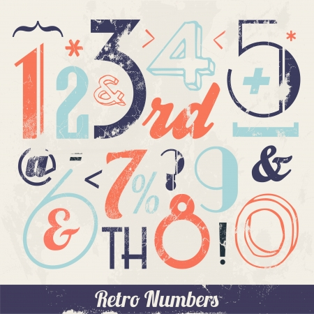 Various Vintage Number and Typography Collection  For High Quality Graphic Projects Stock Vector - 23763947