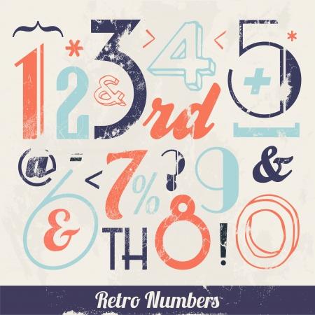 artikelen: Verschillende vintage Aantal en Typografie Collectie Voor High Quality Graphic Projects Stock Illustratie
