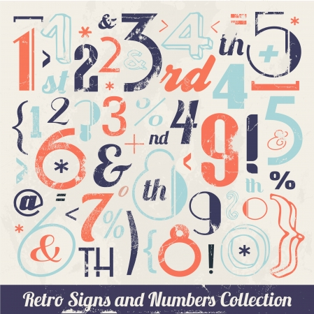 Various Vintage Number and Typography Collection  For High Quality Graphic Projects Stock Vector - 23763948
