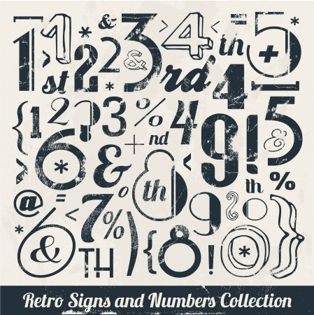 Vaus Vintage Number and Typography Collection  For High Quality Graphic Projects Stock Vector - 23763949