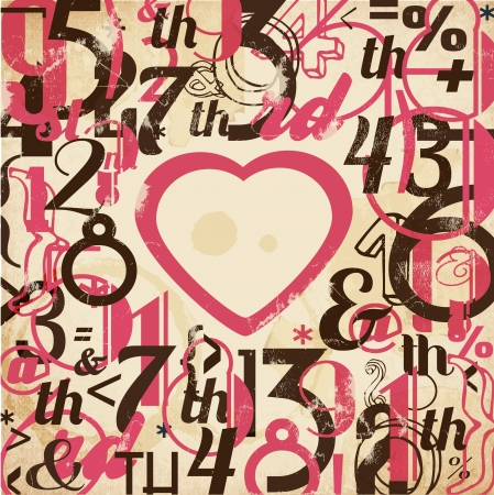 beau: Various Vintage Numbers Collection  For High Quality Valentines Graphic Projects Illustration
