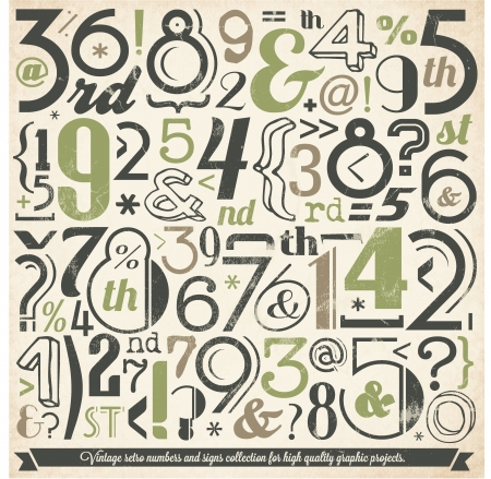 Various Vintage Number and Typography Collection  For High Quality Graphic Projects  Illustration