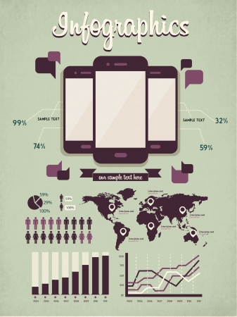 retro vector set of infographic elements for your documents and reports with three glossy touchscreen mobile phone devices Vector