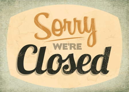 Retro Vintage Closed Sign with Grunge Effect Illustration
