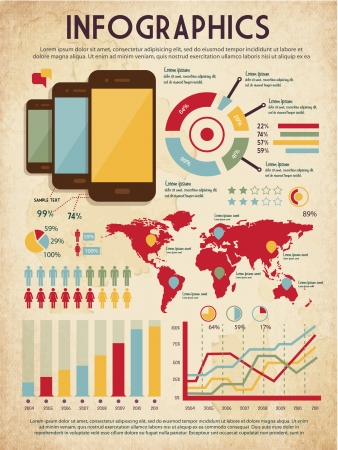 old phone: retro vector set of infographic elements for your documents and reports with three glossy touchscreen mobile phone devices