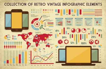 infographics touchscreen: retro vector set of infographic elements for your documents and reports with glossy touchscreen mobile phone and monitor screens