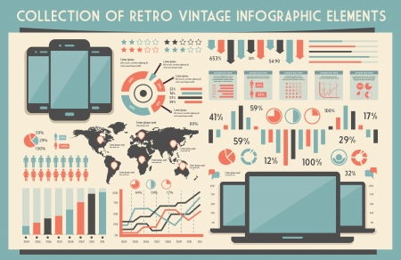 infographics touchscreen: retro vector set of infographic elements for your documents and reports with touchscreen mobile phone and notebook devices