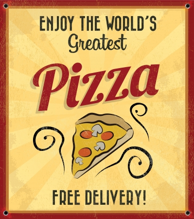 Retro Vintage Pizza Tin Sign with Grunge Effect Illustration