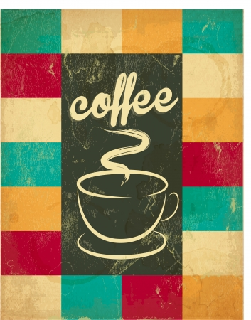 Retro Vintage Coffee Background with Squary Pattern