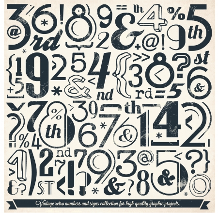 Various Vintage Number and Typography Collection  For High Quality Graphic Projects Stock Vector - 23763665