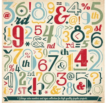 Various Vintage Number and Typography Collection  For High Quality Graphic Projects Stock Vector - 23763666