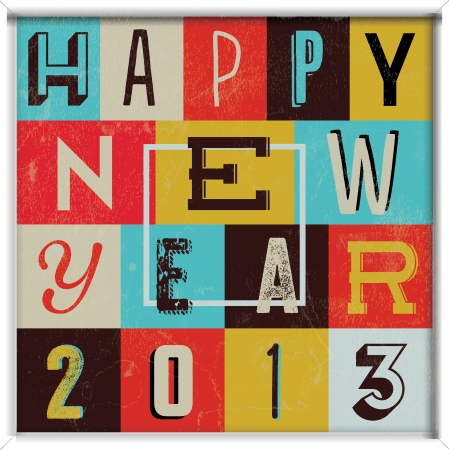 new year poster: Colorful Retro Vintage 2013 New Year Poster Background