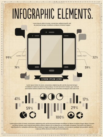 elements design: retro vintage vector set of infographic elements for your documents and reports with three touchscreen mobile phone devices