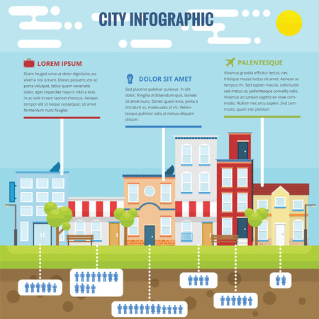 Summer city infographic with flat design and bright color
