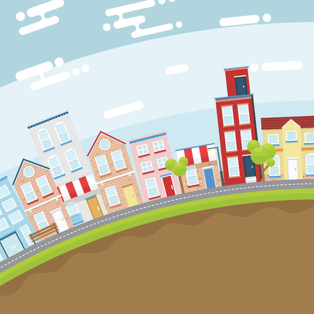 streetlight: Summer city in slope land with bright and flat design concept Illustration