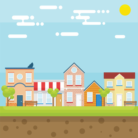 suburban home: City in Summer with bright and flat design concept