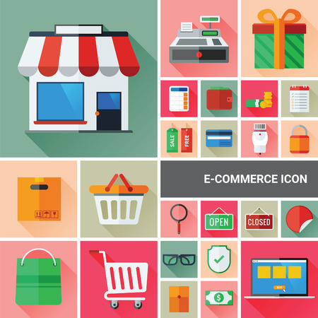 Ecommerce icon set collection with flat and long shadow design. Vector