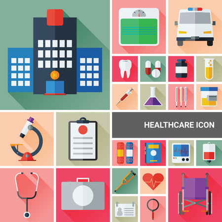an injector: Healthcare & Medic icon set collection with flat and long shadow design. Illustration