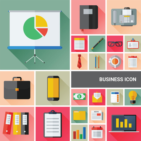 filling folder: Business icon set collection with flat and long shadow design Illustration