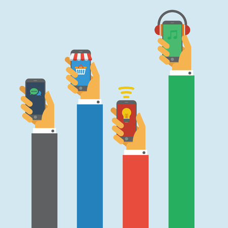 cellphone in hand: Hand Holding different cellphone concept with flat design