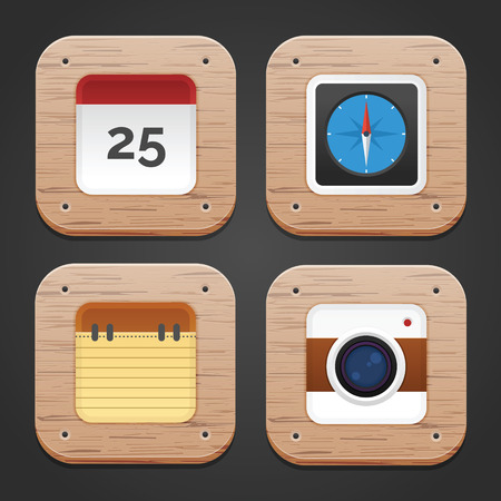 rounded: Rounded Icon with Wood texture and pattern Illustration