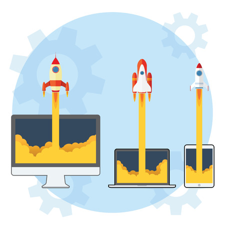 rocket: 3 Different Rocket Launch from Gadget and Computer Illustration